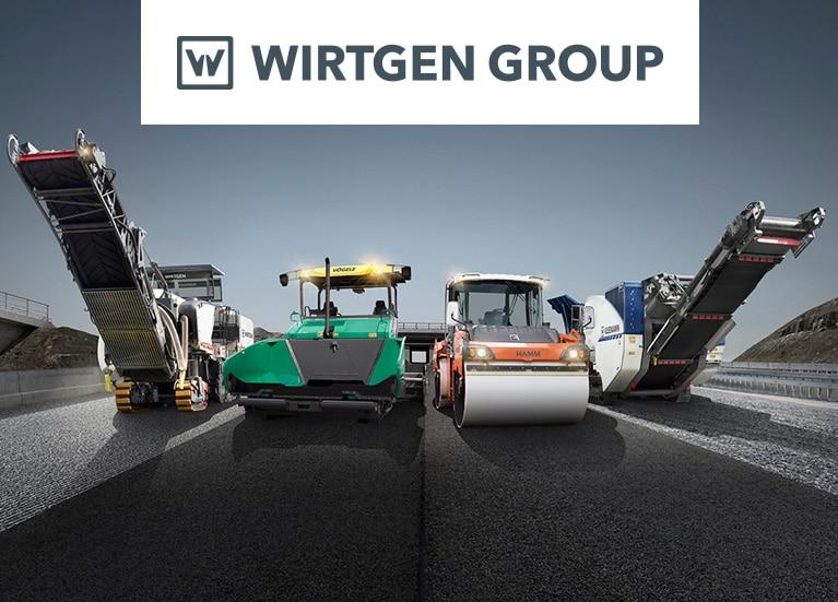 Línea de máquinas Wirtgen en un camino