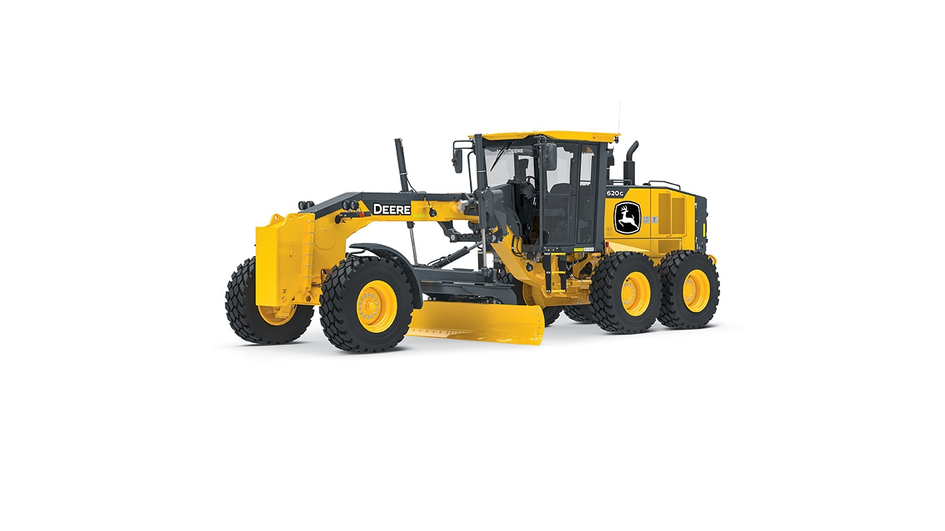 620G motor grader on white background