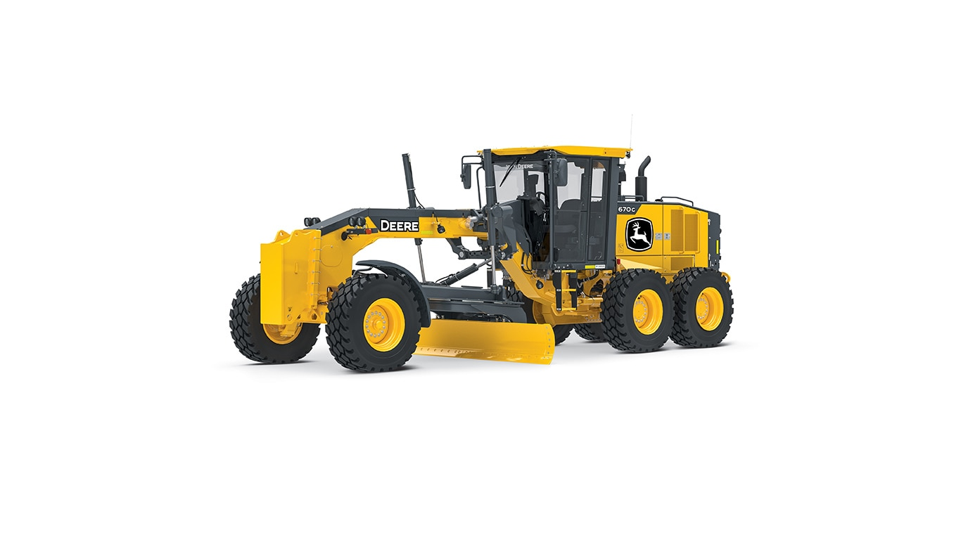 670g motor grader on white background
