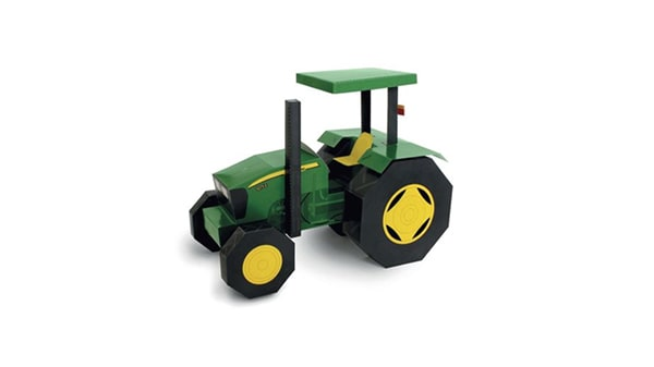 Papercraft imprimible y recortable del Tractor John Deere 5075E. Manualidades a Raudales.